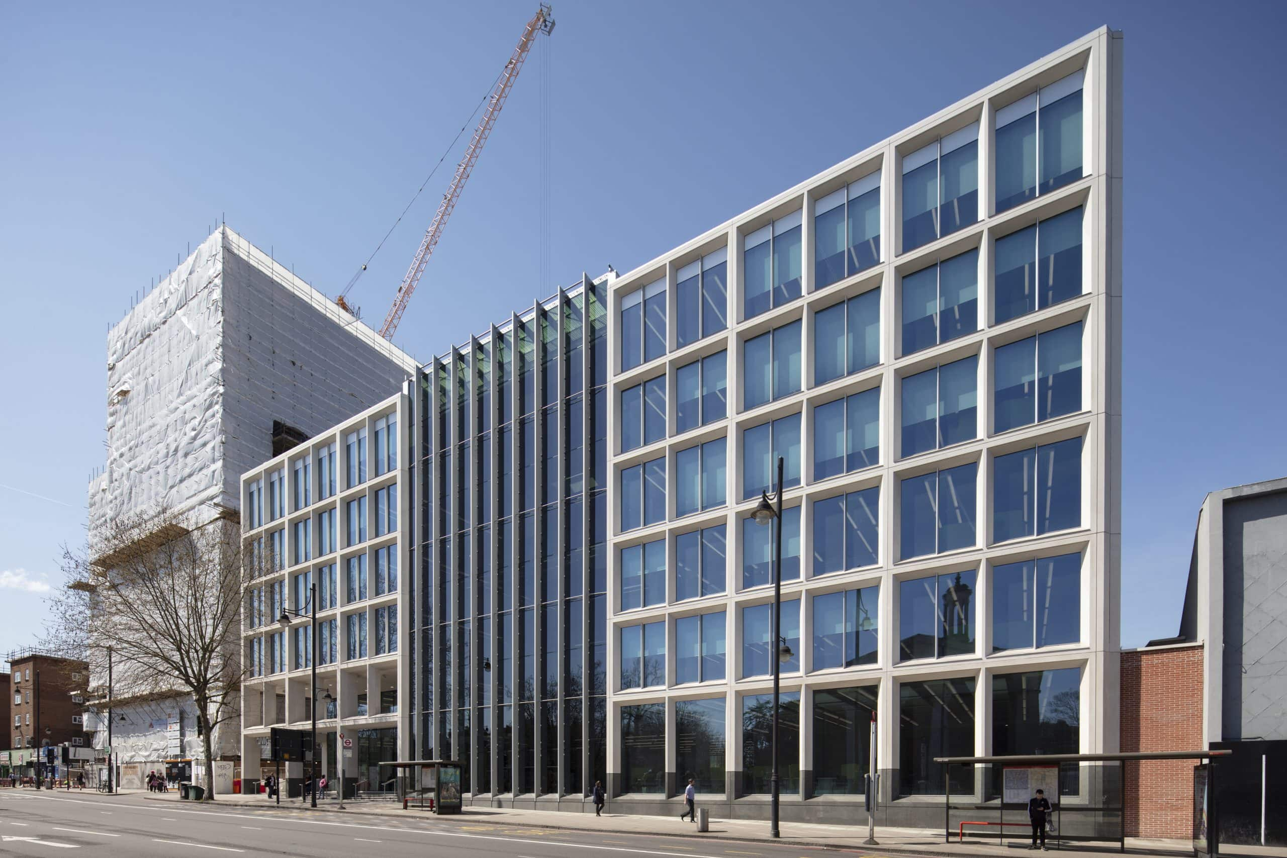 for Lambeth Civic Centre in London that uses electrochromic glass as a solar shading solution