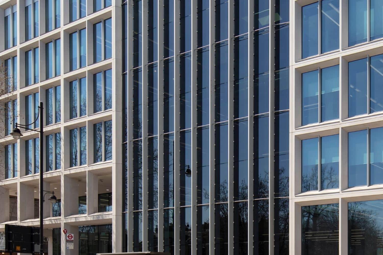 electrochromic glass used to prevent solar glare inside the Lambeth Civic Centre in London