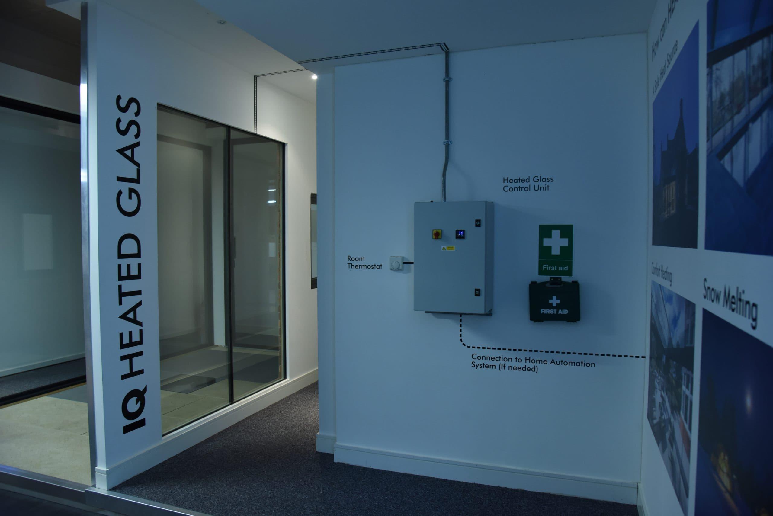 heated glass display at the Iq showroom in Amersham