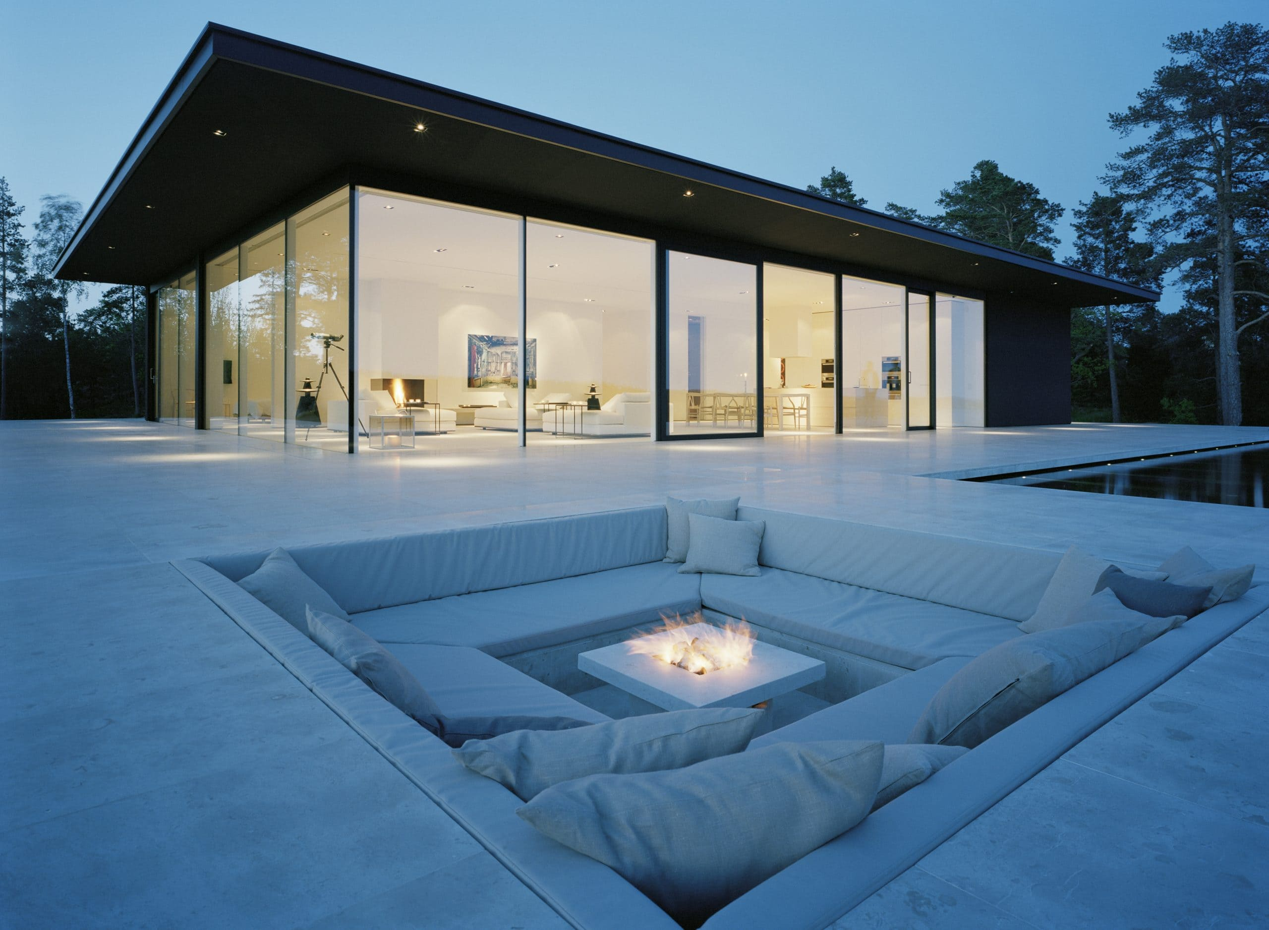 heated glass used as heated glass walls around a luxury garden room