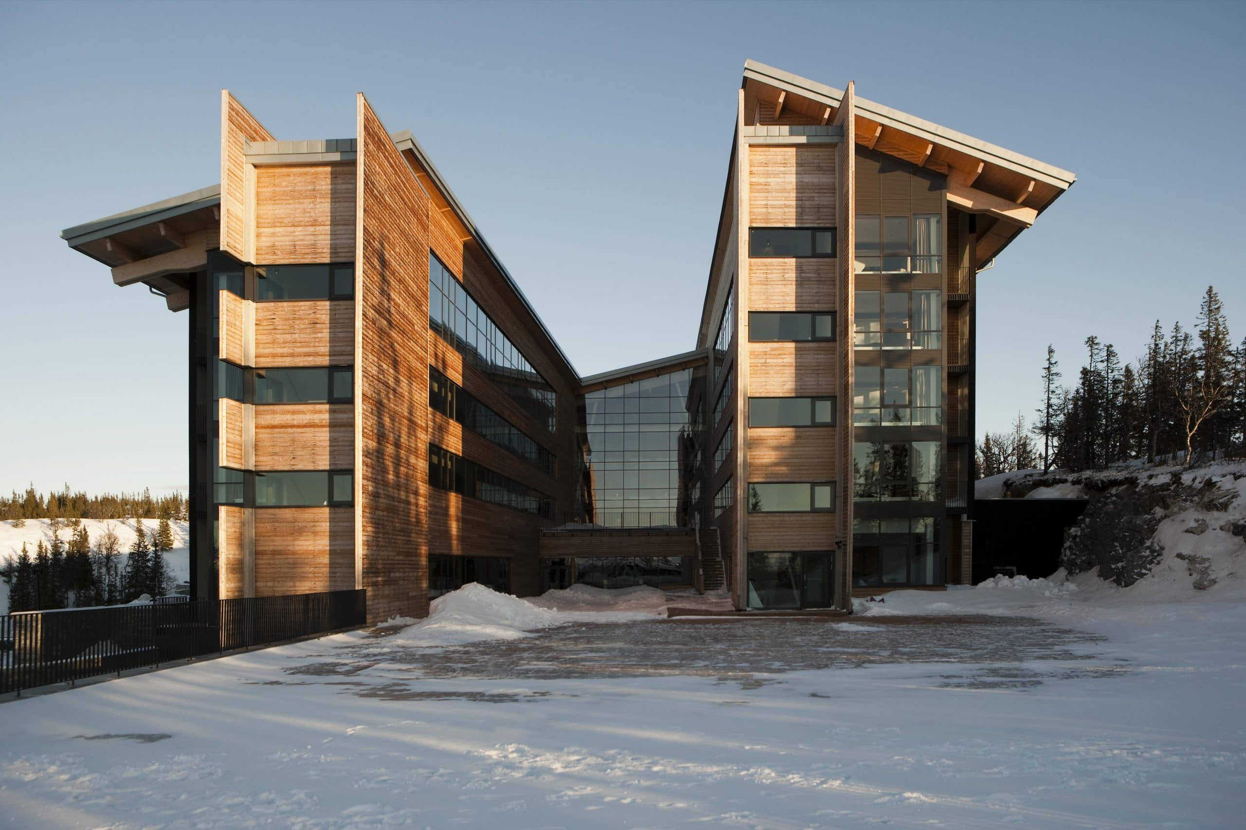 hotel that uses heated glass to prevent condensation build up and melt snow and ice