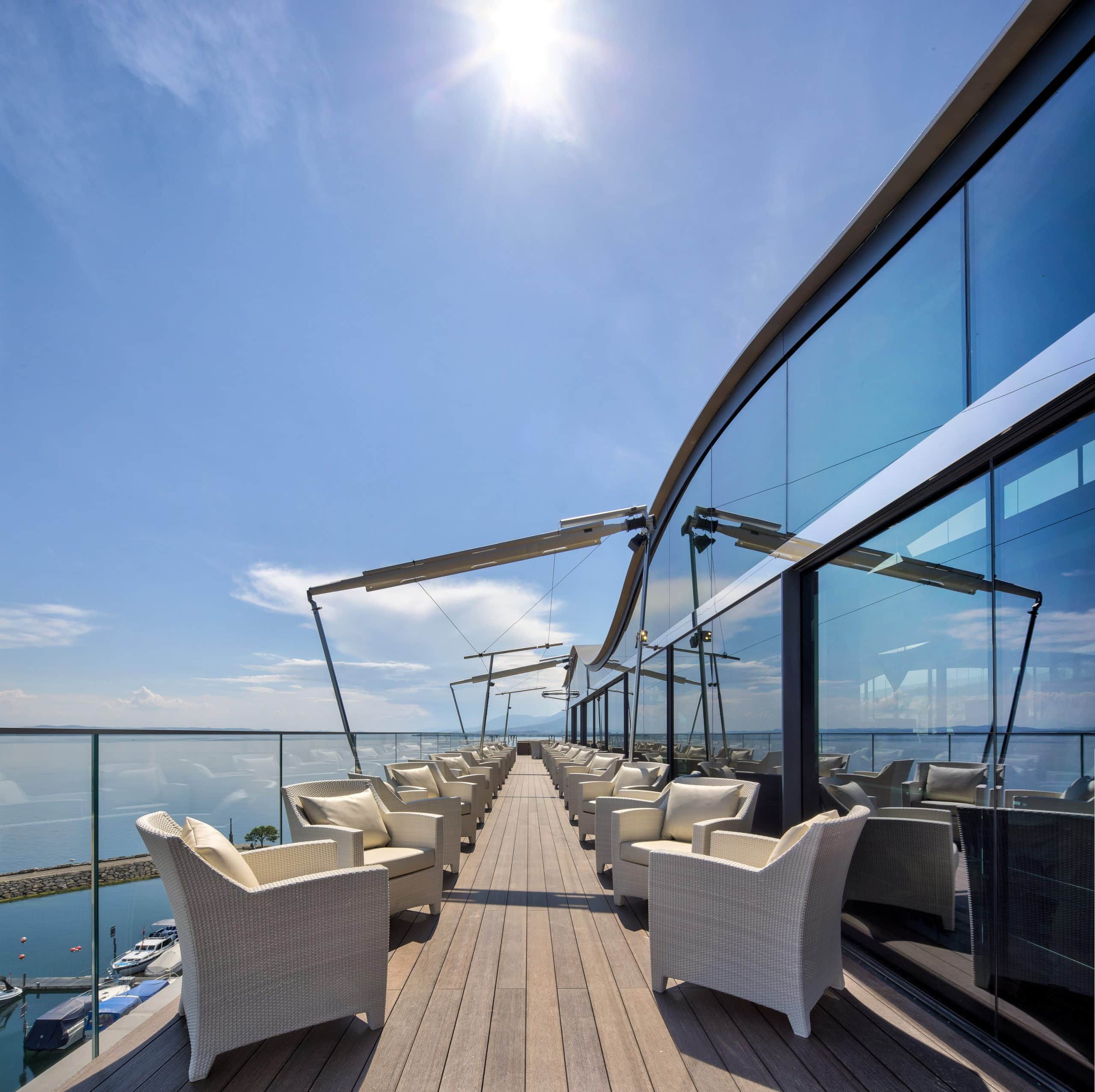 Luxury Hotel - Hotel Beaulac using electrochromic glass for solar shading and to reduce solar glare