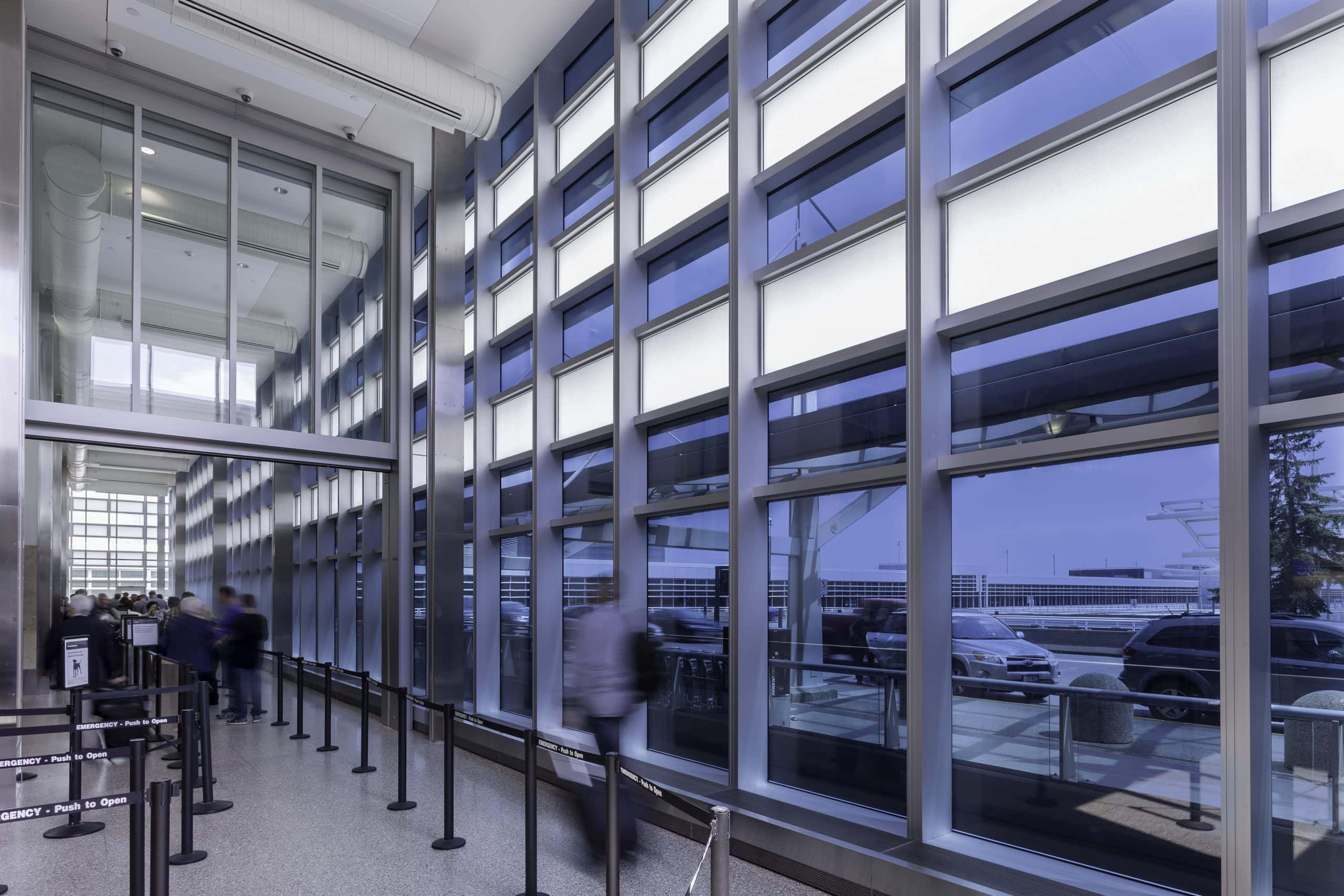 electrochromic glass being used at st paul airport terminal in Minneapolis