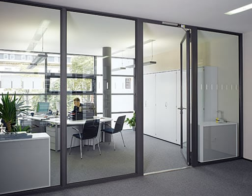 fire rated glass door with fire rated glass screens wither side