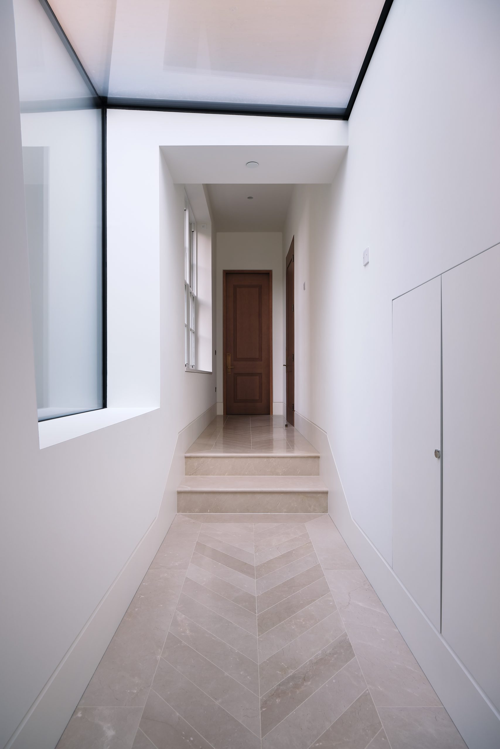 structural glass in hallway