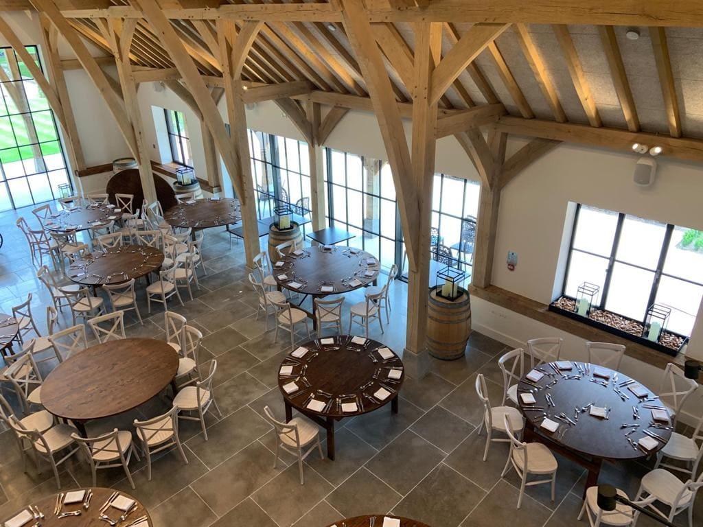 barn style wedding venue with steel framed windows