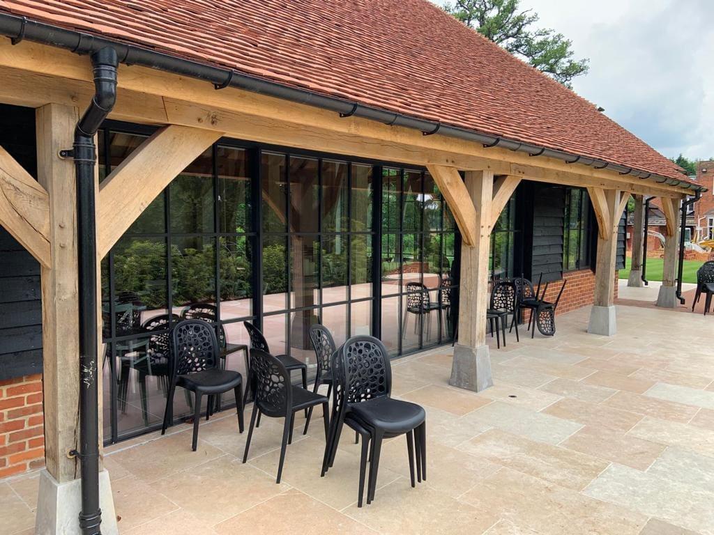 elegant steel framed glazing in a contemporary wedding venue