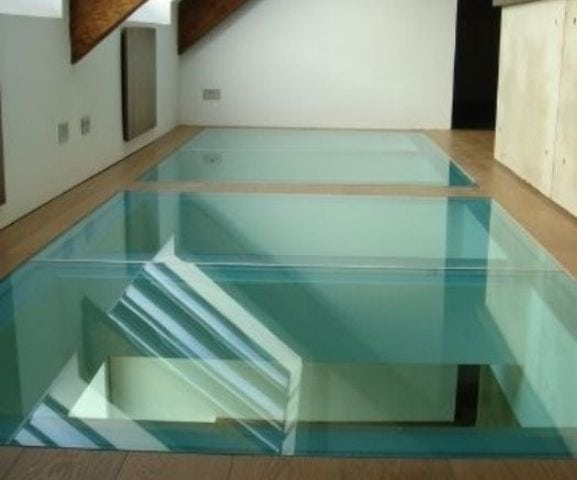 fire rated glass floor in a commercial building