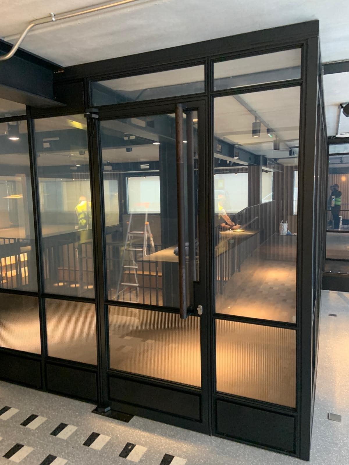 internal steel framed glazing reeded glass
