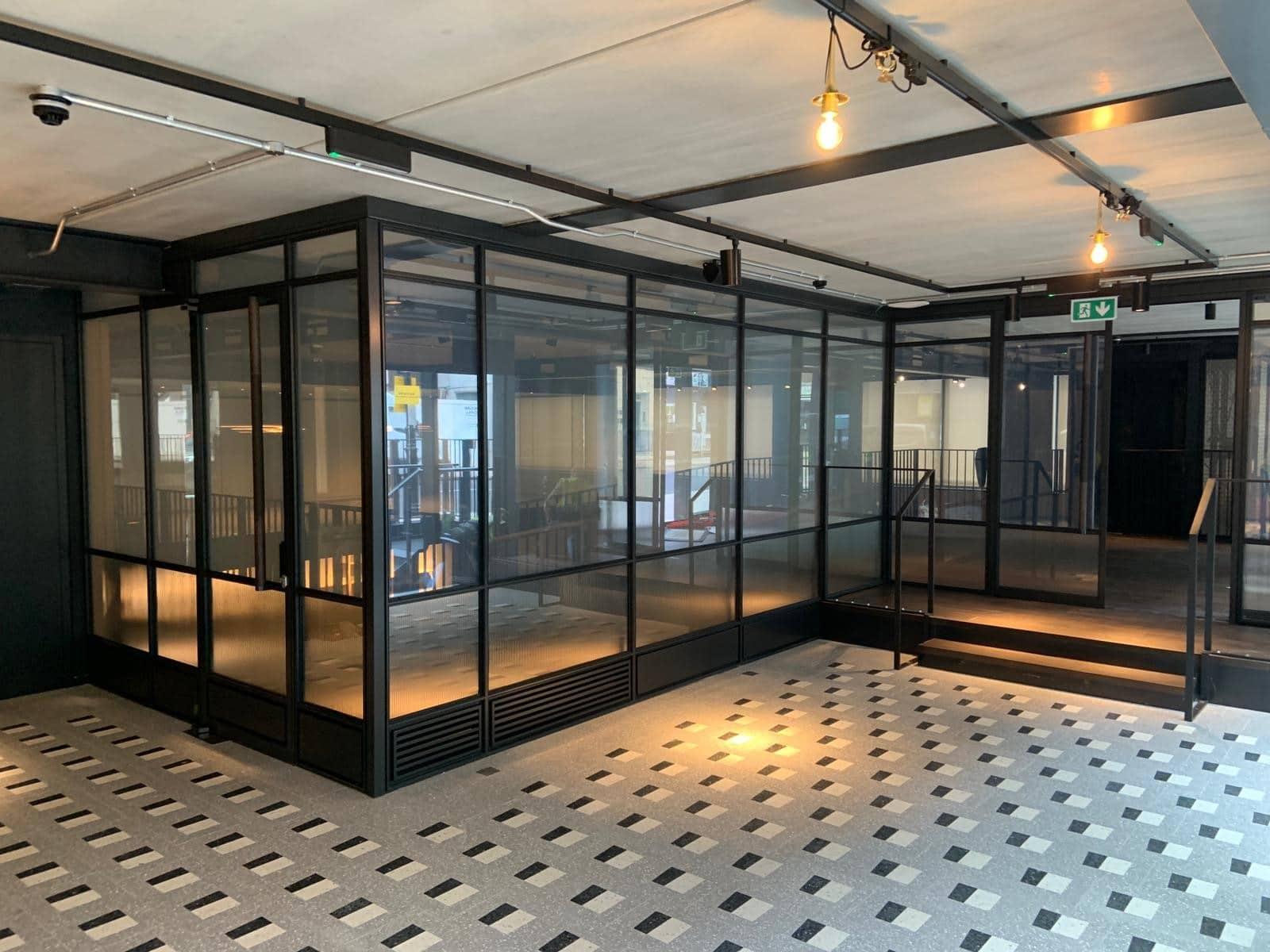 steel framed internal glazing