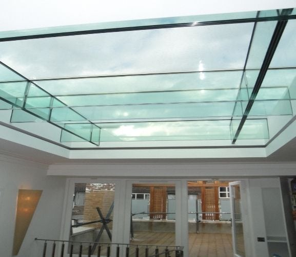 structrural glass roof with fire rated glazing and glass beans in a commercial building
