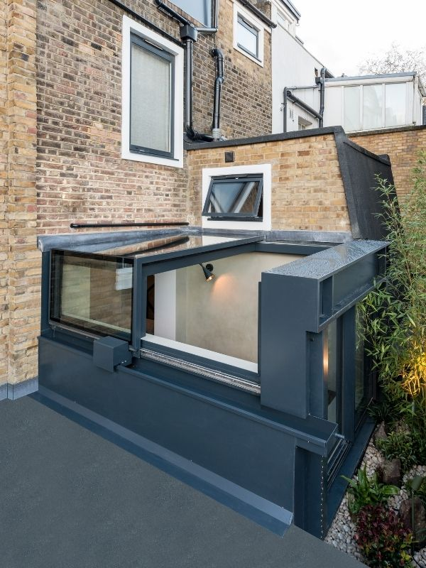 automated box rooflight in London home renovation