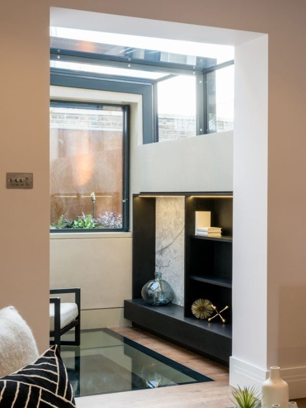 box type sliding rooflight system in a London home renovation