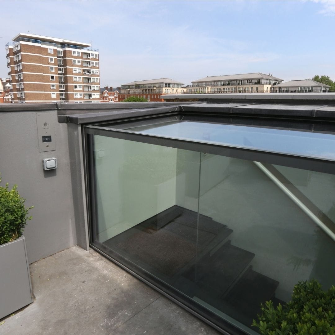 box type sliding rooflight used for commercial rooftop access