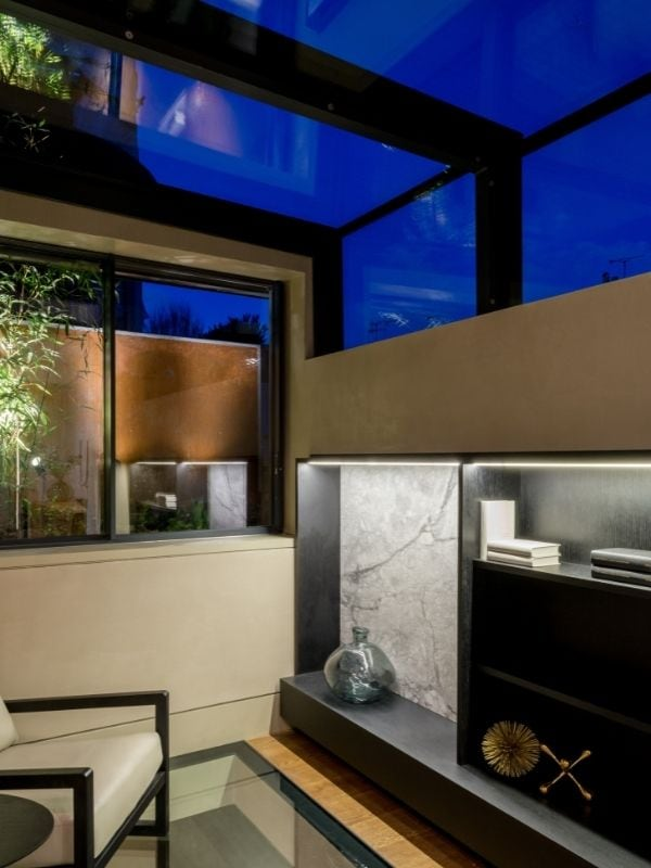 London townhouse renovation with sliding box rooflight for increased ventilation and natural light