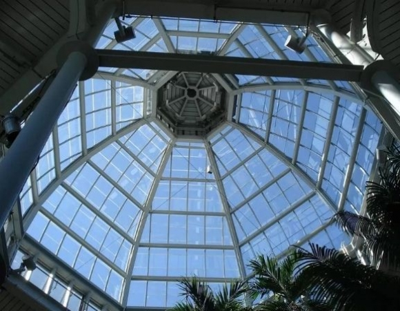 dome shaped glass atria with fire rated glass
