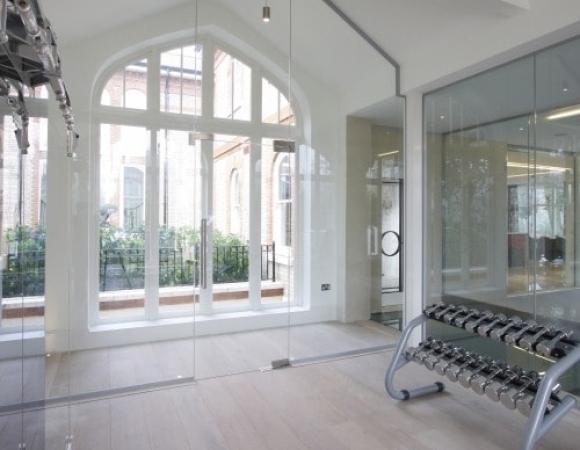 frameless internal glass door and structural glass