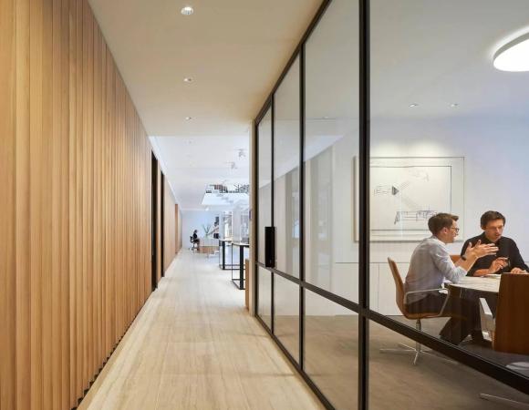 steel framed internal glass partition